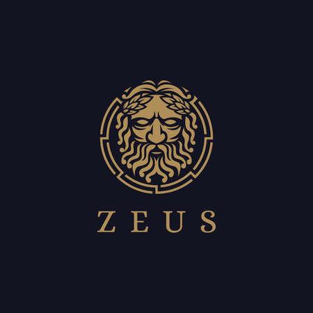 Zeus God logo icon illustration vector on dark background, Lopiter logo, jupiter logo