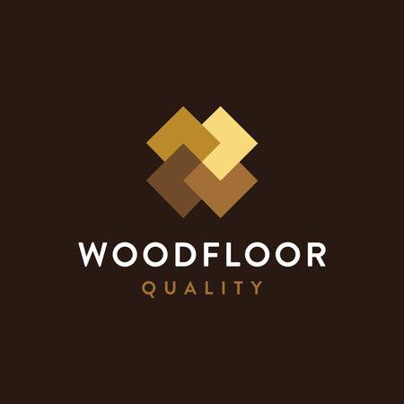 Modern minimalist wood flooring logo icon vector template on dark background