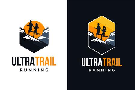Badge patch emblem Outdoor Ultra Trail running logo vector set
