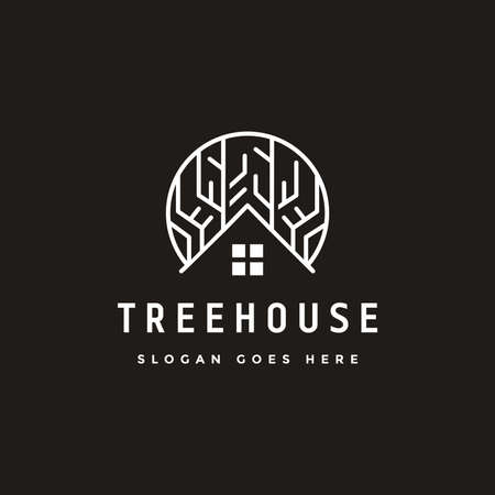 Abstract tree house logo icon vector template on black background Stock Illustratie