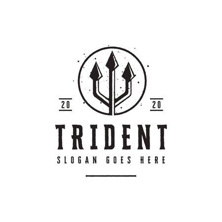 Vintage Trident Spear of Poseidon logo, neptune god logo, triton spear logo icon vector template on white background