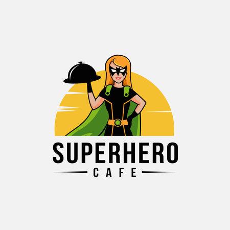 Cartoon mascot superhero waiter logo vector template, super service restaurant logo concept on white background