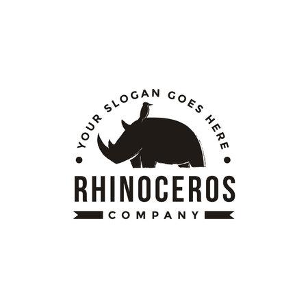 Vintage hipster retro label emblem bird and Rhino logo icon vector illustration on white background Ilustração