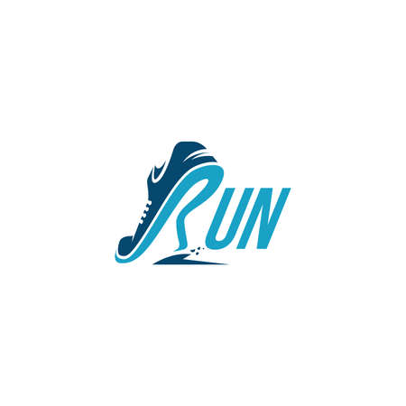 Creative wordmark logo, R for Run logo / Running logo vector template on white background