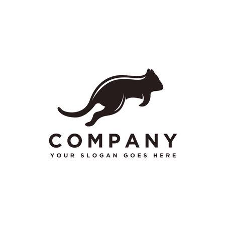 Jumping Quokka animal logo vector template on white background