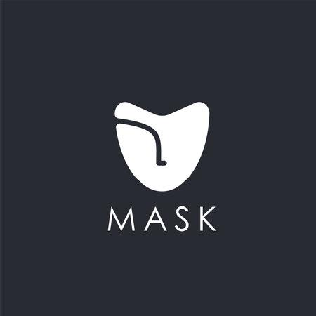 Abstract minimalist mask logo icon vector template on dark background