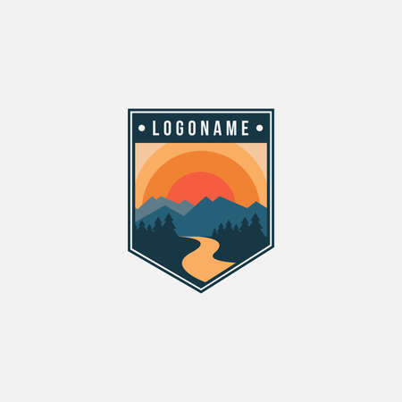 Badge emblem seal mountain and river landscape adventure logo icon vector template on white background
