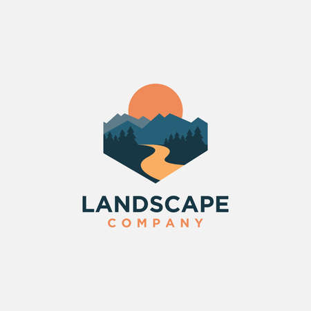 mountain and river landscape adventure logo icon vector template on white background