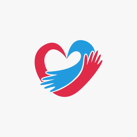 Romantic hug a heart logo icon vector template on white background
