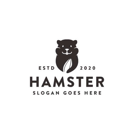 minimalist Hamster and watermelon seed food snack logo icon template on white background Logo