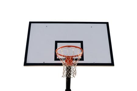흰색 배경에 고립 된 보드와 함께 농구 바구니입니다. 주황색 금속 바구니