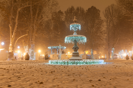 Zrinjevac park Fountain decorated by Christmas lights as part of Advent in Zagreb.