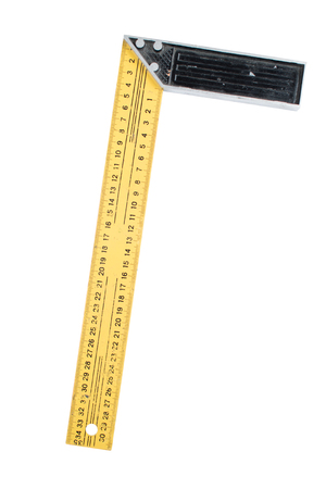 Used metal ruler with angle bar, set square, isolated on a white background. Path saved, cut out