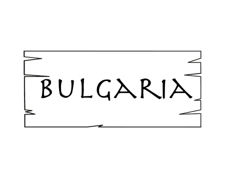 Bulgaria, country name written on white background, surface inside drawn wooden frame Vector drawn frame. Иллюстрация