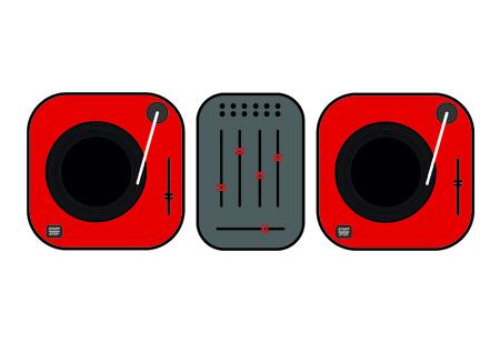 Flat outlined DJ turntables set illustration. Red vinyl turntables. Flat style vector drawing, red gramophones, DJ set.