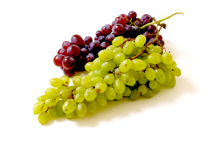 Beautiful,organic,fresh green and red grapes isolated shot on white background. Фото со стока