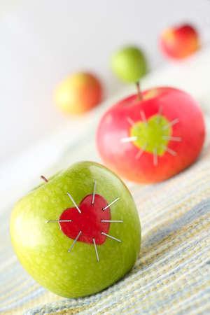 pareja saludable: manzanas