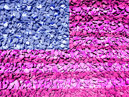 Flag of USA painted on an gravel