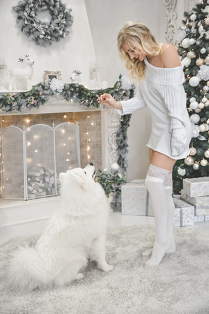 beautiful blonde in white clothes with a white husky on the background of the fireplace and Christmas tree
