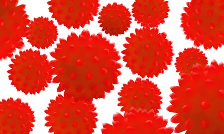 The red cells aggressive a virus on a white background. Bacteria virus or germs microorganism cells close-up