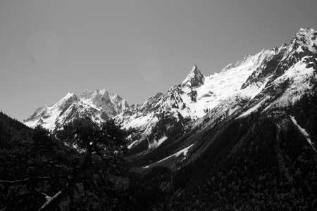 The white tops of the mountains in summer, black and white and grayscale images. photo