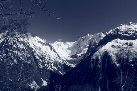 The white tops of the mountains in summer, black and white and grayscale images. Stock Photo - 11560669