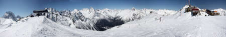 Mountain panorama from, Winter. View of the slopes of the slope