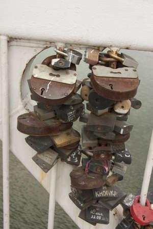 Love locks representing secure friendship and romance photo