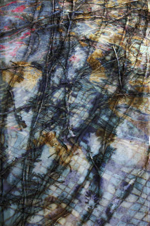 imposition: The dark image, the background, the imposition of abstract textures