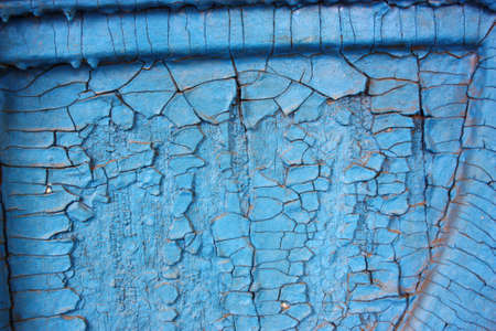 Rough background of blue paint with cracks and tree decorations photo