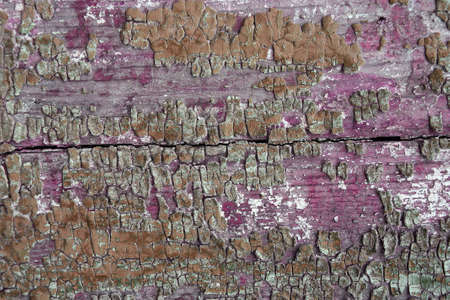 flaking: Old paint on a wooden surface