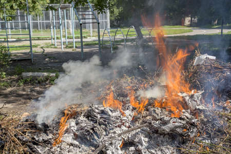 Illegal burning of waste in violation of environmental norms Stock Photo - 21642800