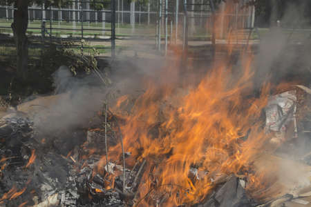 Illegal burning of waste in violation of environmental norms photo
