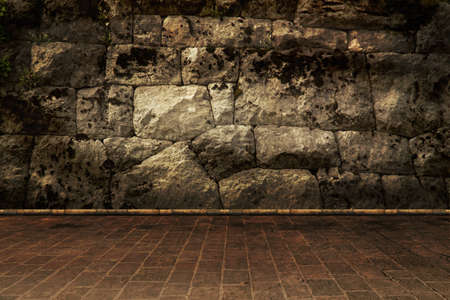 The dark stone walls and floor. fortress background photo