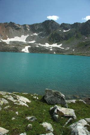 Pure mountain lake, Inspiring wilderness of Alpine photo
