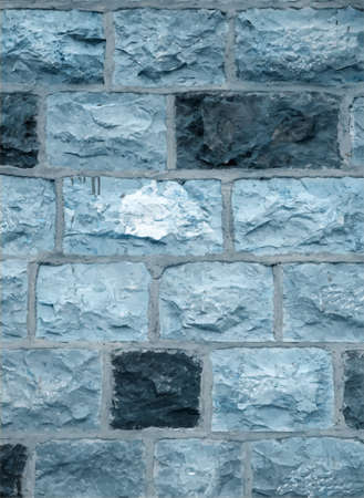 plaster wall: Blue stone blocks wall, texture background