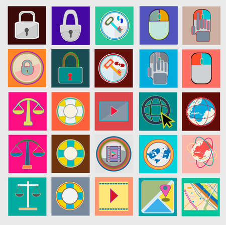 interface design: Set of flat icons for web sites, internet, interface design, mobile applications business. Illustration
