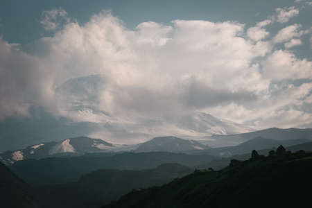 the close range: Mountain landscape. Elbrus top of the picture at close range, the Caucasus.