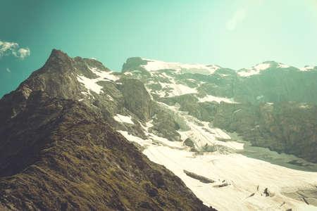 close range: Mountain landscape. Glacier. The picture at close range Stock Photo