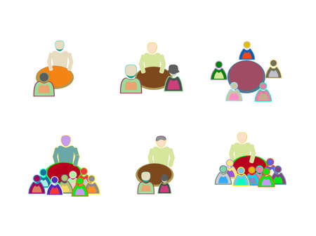 workgroup: Conference icons flat set with business people workgroup communication
