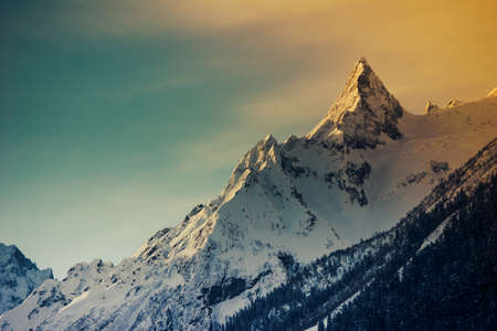 스키 슬로프와 겨울 산의 파노라마입니다. 코카서스 산맥