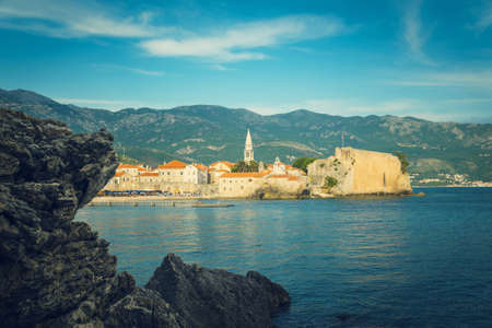 budva: Sea with city views, Budva, Montenegro, Adriatic Sea, Mediterranean Sea.