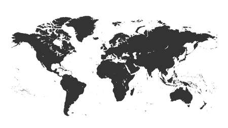 Black isolated detailed world map on white background. Design world map vector template. A flat map of the earth is a detailed graphic map of the world illustration.