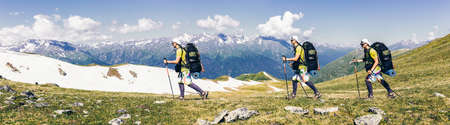 Sports travel background photo collage group of people hipster friends twins relatives on vacation extreme tourist with backpacks on top of mountain Lifestyle Adventure hiking or expedition concept Archivio Fotografico