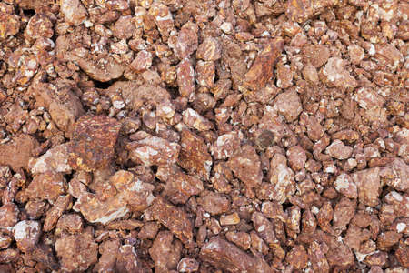 Gravel, crushed stone, top view, the texture of gravel stones on the ground background. Archivio Fotografico