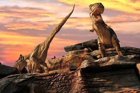 dinosaurio:  Estatua de modelo de dinosaurio en el zool�gico