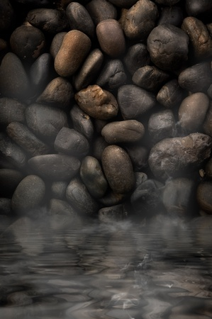 black stones with water hot Stock Photo