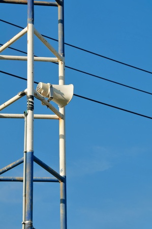 Loudspeakers against  communication concept. on blue sky background Stock Photo - 8818664