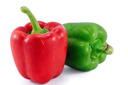 Red and green sweet pepper isolated on a white background