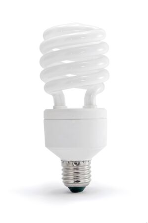 Energy saving lamp on white background. photo